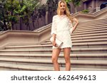 fashionable blonde woman in a... | Shutterstock . vector #662649613