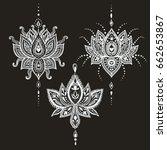 hand drawn lotus flower set in... | Shutterstock . vector #662653867