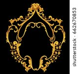 vertical golden baroque frame | Shutterstock . vector #662670853