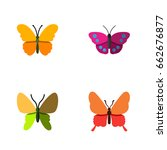 flat icon butterfly set of... | Shutterstock .eps vector #662676877