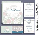 set of wedding cards or... | Shutterstock .eps vector #662677663