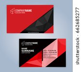 business card template. red and ... | Shutterstock .eps vector #662685277