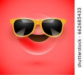 red 3d smiley with sunglasses... | Shutterstock .eps vector #662685433