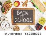 sandwich  apple  grape  carrot  ... | Shutterstock . vector #662688313