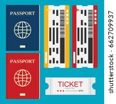 passport with tickets icon... | Shutterstock .eps vector #662709937