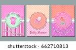 baby shower cards. set cute... | Shutterstock .eps vector #662710813