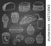 vector set of fast food hand... | Shutterstock .eps vector #662713063