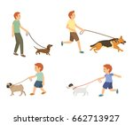 young guy and kids walking with ... | Shutterstock .eps vector #662713927