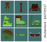 set of icons in flat design ski ... | Shutterstock .eps vector #662719117