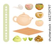chinese tea set  isolated on... | Shutterstock .eps vector #662729797