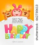 happy birthday invitation card...   Shutterstock .eps vector #662730613