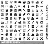 100 pensil icons set in simple... | Shutterstock . vector #662735593