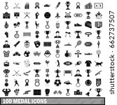 100 medal icons set in simple... | Shutterstock . vector #662737507