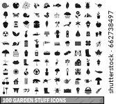100 garden stuff icons set in... | Shutterstock . vector #662738497