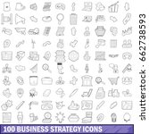 100 business strategy icons set ... | Shutterstock . vector #662738593