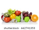 fitness equipment and healthy... | Shutterstock . vector #662741353