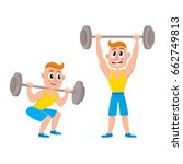 young man training with barbell ... | Shutterstock .eps vector #662749813