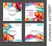 set of square color brochures ... | Shutterstock .eps vector #662758897