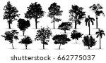 black tree silhouettes on white ...   Shutterstock .eps vector #662775037