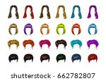 woman hair style set.... | Shutterstock .eps vector #662782807