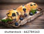 blueberry muffins | Shutterstock . vector #662784163