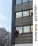 Small photo of High altitude alpinist window washer