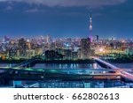 tokyo cityscape at night  japan. | Shutterstock . vector #662802613