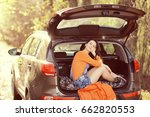 young beautiful girl in the car ... | Shutterstock . vector #662820553