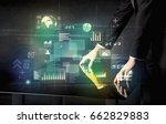 businessman touching... | Shutterstock . vector #662829883