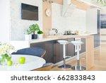 modern kitchen interior in big... | Shutterstock . vector #662833843