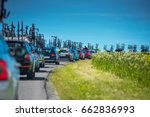 Small photo of Service cars during professional cycling race - Tour de France concept photo