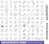 100 successful icons set in... | Shutterstock . vector #662839087