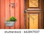 old door in sweden. swedish... | Shutterstock . vector #662847037