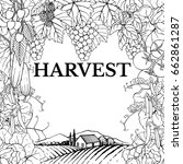 harvest. hand drawn set with... | Shutterstock .eps vector #662861287