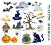essential halloween icons... | Shutterstock .eps vector #662863723