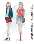 two fashion girl  blonde and... | Shutterstock .eps vector #662867113