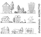 hand drawn set of different...   Shutterstock .eps vector #662867743
