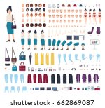 business woman character... | Shutterstock .eps vector #662869087