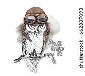owl in a aviator leather helmet ... | Shutterstock .eps vector #662887093