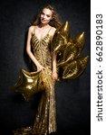 beautiful blonde woman on black ... | Shutterstock . vector #662890183