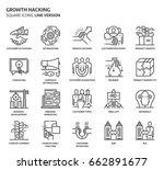 growth hacking  square icon set.... | Shutterstock .eps vector #662891677