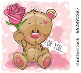 greeting card cute cartoon... | Shutterstock . vector #662892367
