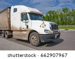 a big white truck parked at a... | Shutterstock . vector #662907967