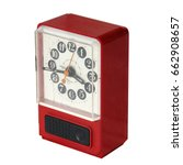 Small photo of vintage Broken alarm clock isolated on white background