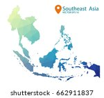 south east asia map   blue... | Shutterstock .eps vector #662911837