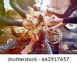 group of people celebrate party ... | Shutterstock . vector #662917657