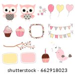 cute birthday set with pink... | Shutterstock .eps vector #662918023
