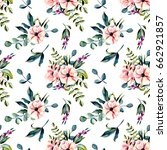 seamless floral pattern with... | Shutterstock . vector #662921857