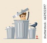businessman in garbage bin. and ... | Shutterstock .eps vector #662922397