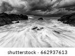 Seascape Rock Beach In Black...